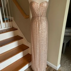 Amsale Spencer Bridesmaid Dress in Gold Sequin